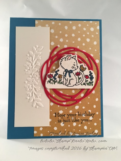Pretty Kitty image paired with Floral Affection Embossing Folder
